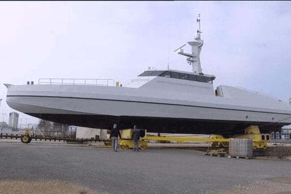 Un des intercepteurs construits par les CMN pour le Mozambique. L'entreprise cherbourgeoise pourrait en fabriquer pour l'arabie Saoudite