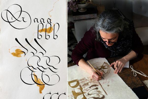 Valérie Merli, calligraphe, dans son atelier à Mulhouse. Elle fait partie des 300 artistes des Ateliers Ouverts.