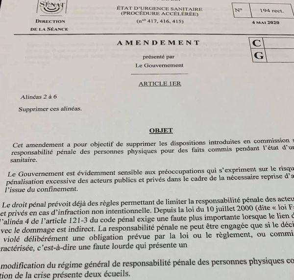 L'amendement déposé par le Gouvernement