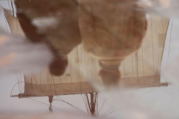Reflet de visiteur dans flaque d'eau