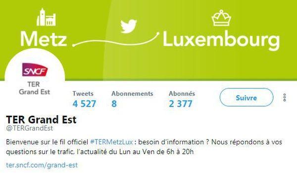 Copie d'écran Twetter ligne Metz Luxembourg