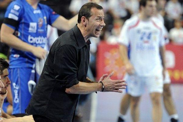 Patrice Canayer, l'entraîneur de Montpellier pendant la rencontre avec Leon