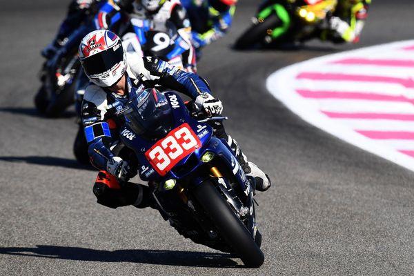 Le cavalier français de Yamaha, Axel Maurin, lors d'une séance de qualification pour le 81e Bol d'Or à l'hippodrome de Paul Ricard