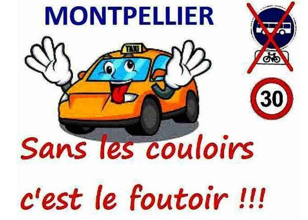 Le slogan affiché depuis un mois sur les taxis de Montpellier.