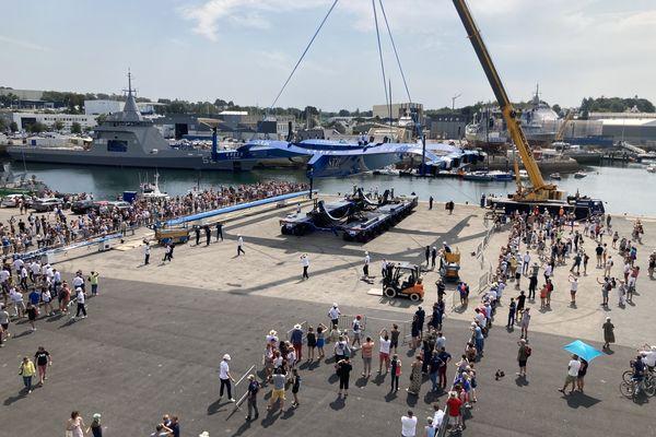 Le nouveau bateau de François Gabart, l'ultime Trimaran SVR Lazartigue