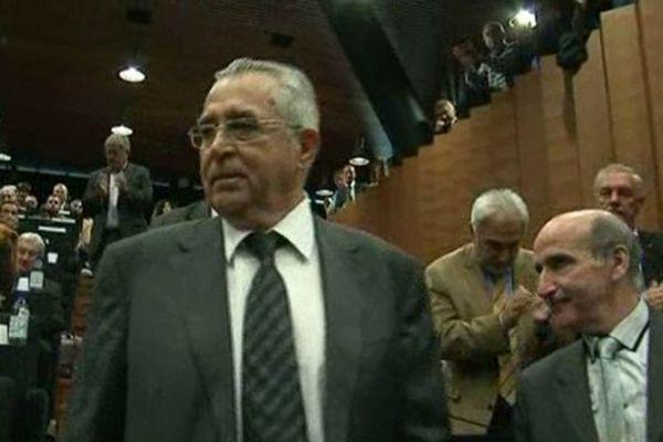 Jean-Marc Pujol a été confortablement élu à la présidence de l'Agglo. Perpignan le 14 avril 2014.