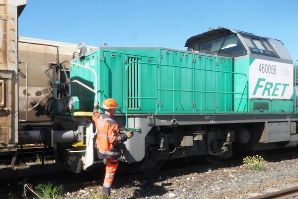 Le train des primeurs au départ de Perpignan, vers le marché d'intérêt national de Rungis (Val-de-Marne), en mai 2019.