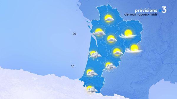 Le temps alternera entre soleil et nuages. Ils finiront par donner des averses orageuses du pays basque à la Gironde dans la soirée...