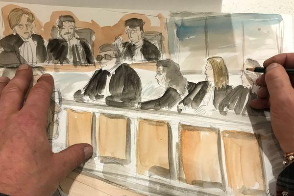 Dessin de presse représentant le rang des avocats lors du procès de la découverte de la cache d'armes à Ajaccio.