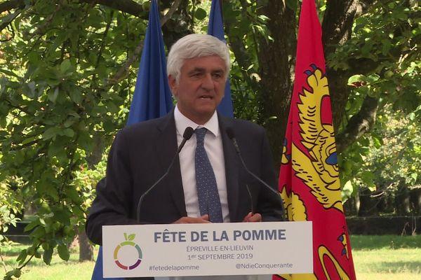 Hervé Morin, président de la région Normandie, à la fête de la Pomme à Epreville-en-Lieuvin (Eure).