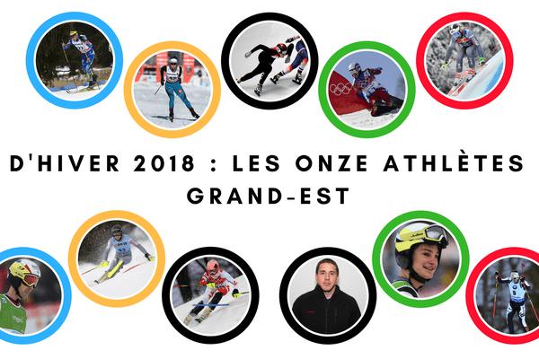 Bannière présentant les dix athlètes originaires du Grand-Est qui participeront aux JO d'hiver de 2018