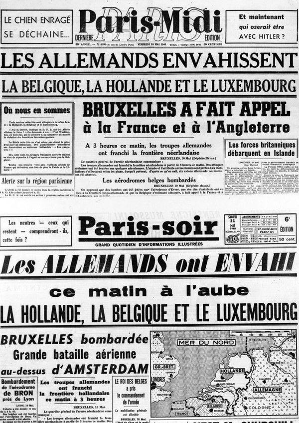 La presse française relate elle aussi l'attaque allemande du 10 mai 1940.