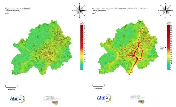 La carte de gauche montre quelques axes pour lesquels les concentrations de dioxyde d'azote restent trop élevées dans la métropole lilloise. En situation «normale» tous les axes structurant de l'agglomération auraient dépassé cette valeur.