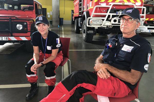 Charlotte Fève et André Thierry, deux pompiers du Cher envoyés au Liban.