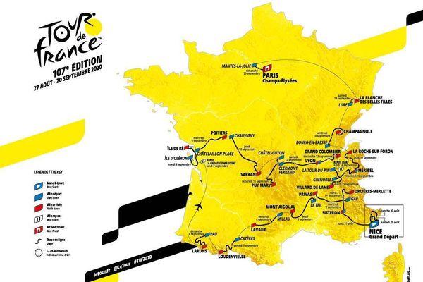 Carte du parcours général du Tour de France 2020