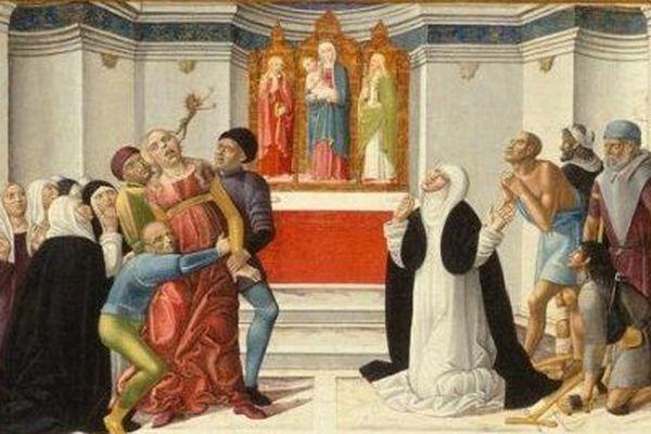 """""""Sainte Catherine de Sienne exorcisant une femme possédée par le démon"""" peint en 1500 par Girolamo di Benvenuto."""