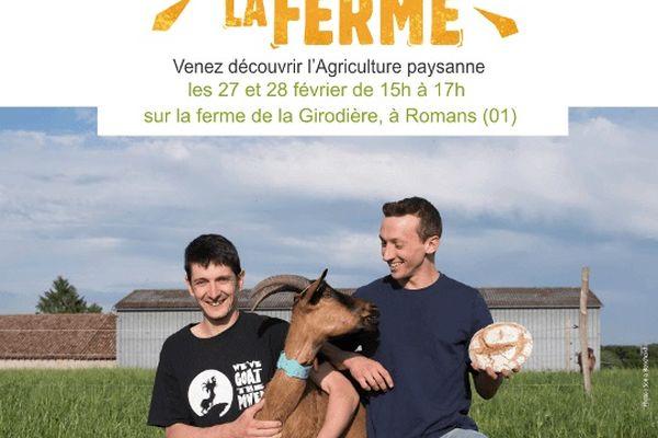 Affiche d'invitation à visiter la ferme de la Girodière les 27 et 28 février à Romans (01)