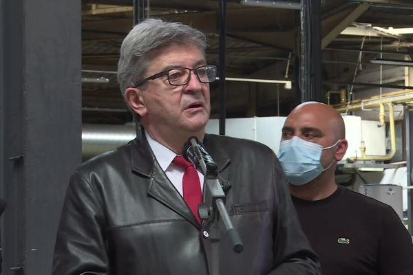 Jean-Luc Mélenchon à l'usine et fonderie MBF Aluminium de Saint-Claude dans le Jura