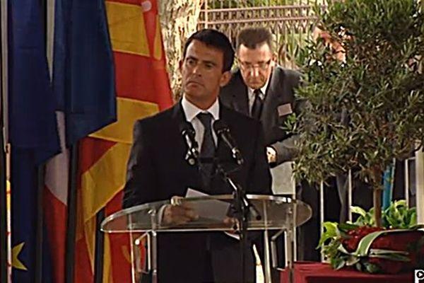 Manuel Valls aux obsèques de Christian Bourquin à Millas le 29 août 2014