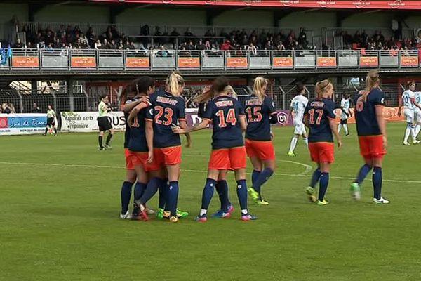 Les filles de Montpellier se sont largement imposées 5 à 0 face à l'OM lors de la 18ème journée de division 1 en foot féminin - 1er avril 2017