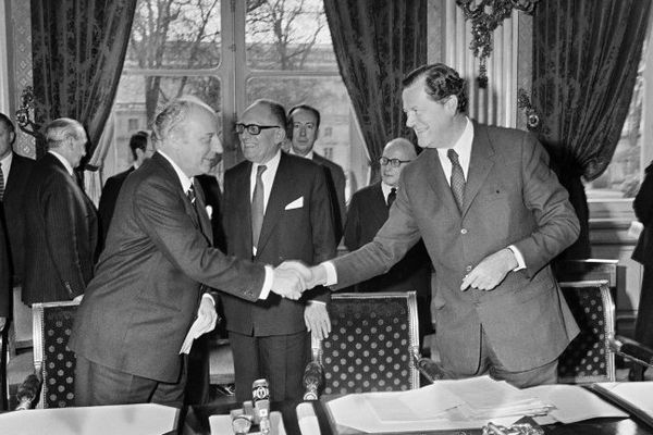 Walter Scheel (à gauche de l'image) en 1972