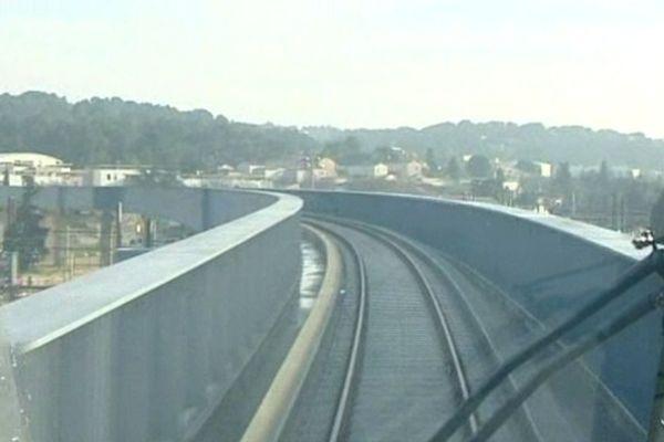 Premier passage sur le viaduc de Courbessac