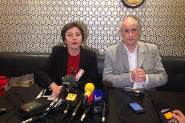 Carole Delga et Gérard Onesta lors de leur conférence de presse commune