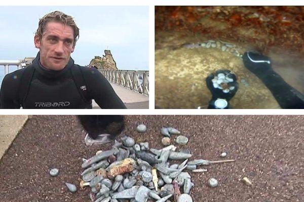 Tom collecte sous l'eau les plombs toxiques issus des lignes des pêcheurs.