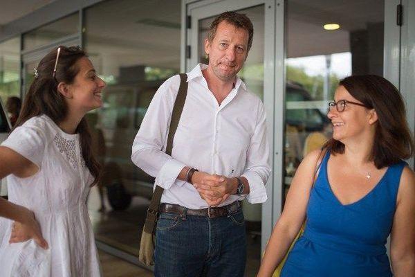 Le député européen Europe Ecologie Les Verts (EELV) Yannick Jadot et l'ex-ministre EELV Cecile Duflot (à droite) lors de l'université d'été du parti à Lorient - 25/08/2016