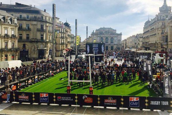 Le terrain monté à Montpellier, lors de la dernière édition du Top 14 rugby tour.