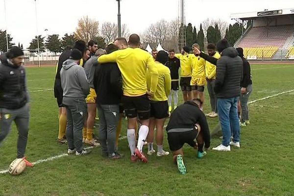 Les rugbymen de l'US Carcassonne soudés et appliqués à l'entraînement - Pro D2 - Rugby - 13/12/2018