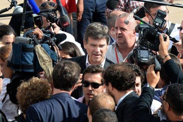 Arnaud Montebourg, qui vient d'être congédié de son poste de ministre de l'Economie, participe à l'université d'été du Parti socialiste à La Rochelle