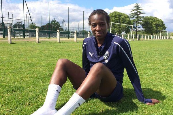 Viviane Asseyi à l'entraînement à Bordeaux, le lendemain de la bonne nouvelle