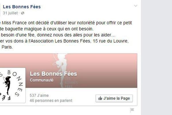 """La page Facebook de l'association """"Les Bonnes Fées"""""""
