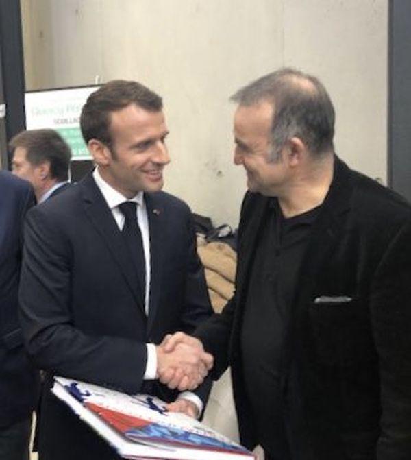 Emmanuel Macron et Fernando Costa à Souillac
