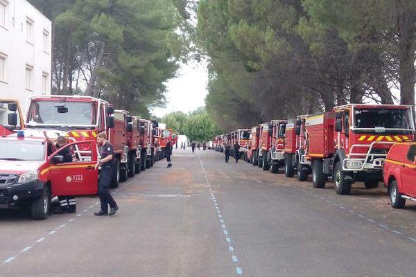 Les sapeurs-pompiers d'Occitanie à leur arrivée à Aix-en-Provence