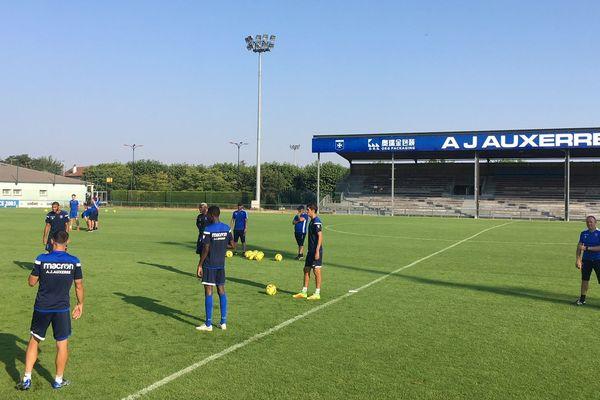 Les joueurs de l'AJA à l'entraînement, le jeudi 26 juillet 2018