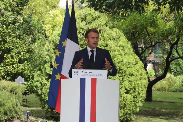 10/09/2020. Emmanuel Macron a fait le point jeudi matin à Ajaccio sur l'avancée du programme de projets pour la Corse.