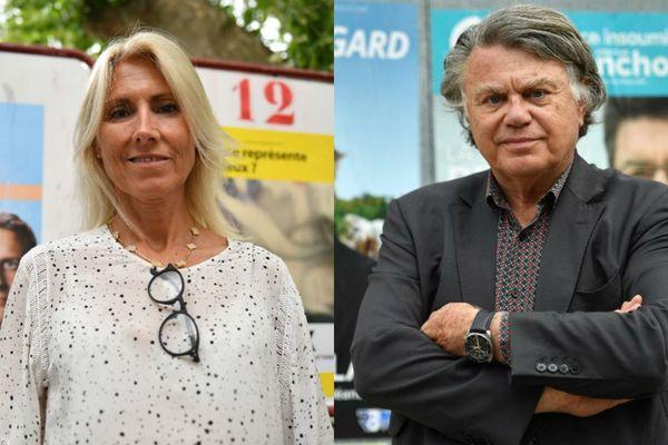 La candidate de La République en marche Marie Sara (g) et le député frontiste Gilbert Collard (d) ont de fortes chance d'arriver au second tour des législatives 2017 dans la deuxième circonscription du Gard.