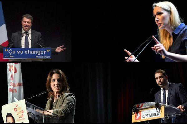 Sophie CAMARD/ tête de liste  Europe Ecologie Les Verts - Christophe CASTANER / tête de liste  Parti Socialiste - Christian ESTROSI / tête de liste  Les Républicains et Marion MARECHAL-LE PEN / tête de liste  Front National.