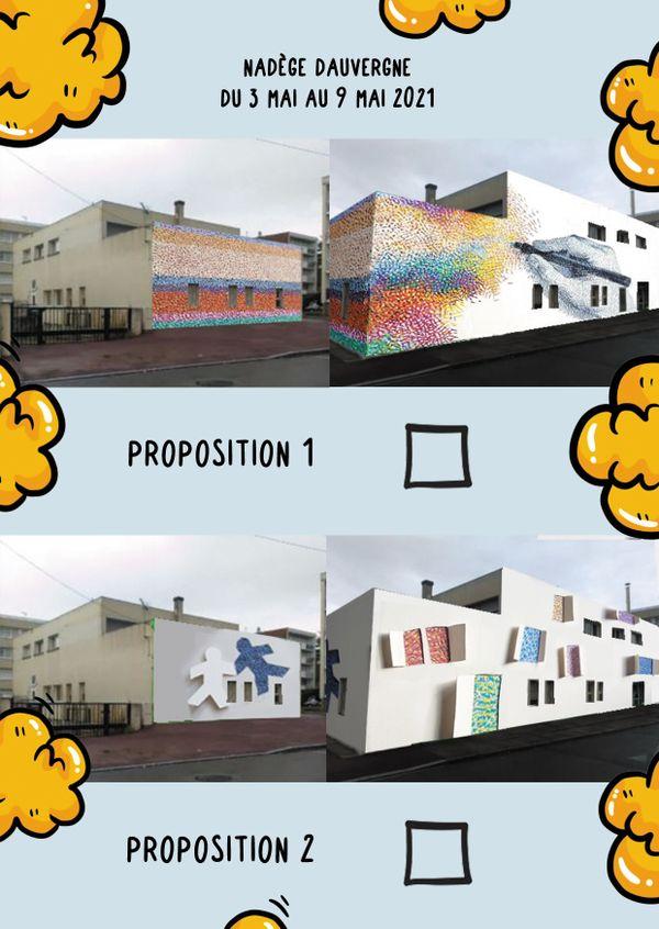 Pour la première résidence d'artistes à Gien, les habitants du quartier de la Croix-Saint-Simon ont majoritairement choisi la première proposition.