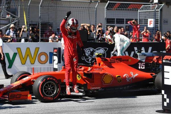 La joie de Charles Leclerc ce samedi à Spielberg à l'issue des qualifications du GP d'Autriche.