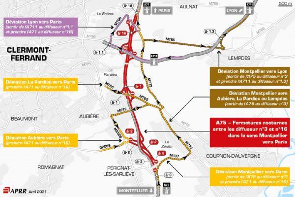 La circulation sera déviée sur l'autoroute A75, au sud de Clermont-Ferrand.