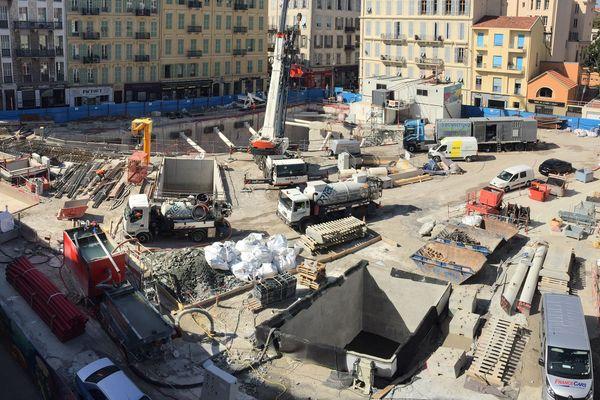 Les travaux de la ligne 2 du tramway de Nice au niveau de la station Durandy