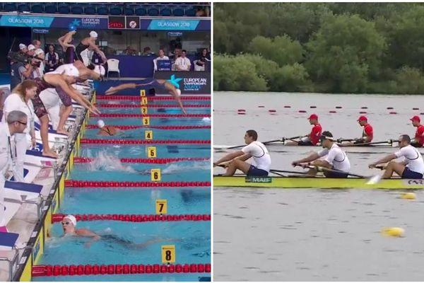 A gauche, le relais 4x100 m nage libre, avec la Haut-Marnaise Anouchka Martin. A droite, l'embarcation de Sean Vedrinelle, licencié aux Regates Rémoises aux championnats sportifs européens à Glasgow