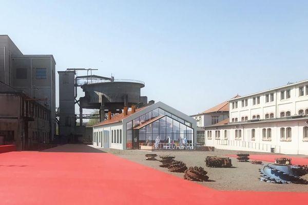 Musée de la mine Parc Explor Wendel de Petite-Rosselle, Moselle. Vue du futur restaurant; Ouverture prévue au deuxième semestre 2021.