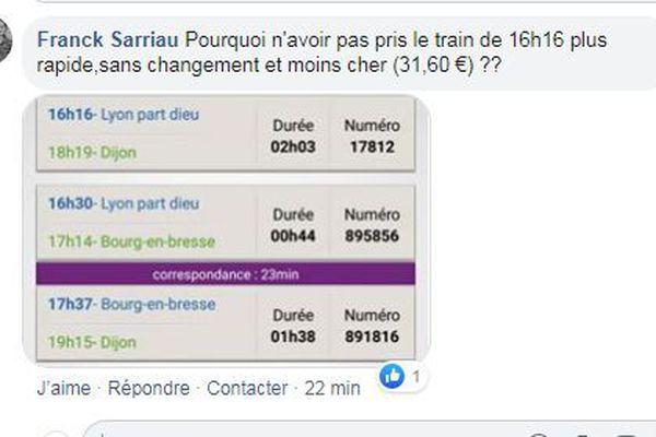Un comparatif TER - BlaBlacar entre Lyon et Dijon