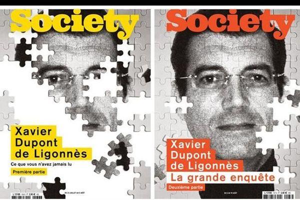 """Les Une de """"Society"""" consacrées à l'affaire Xavier Dupont de Ligonnès, deux numéros parus à l'été 2020"""
