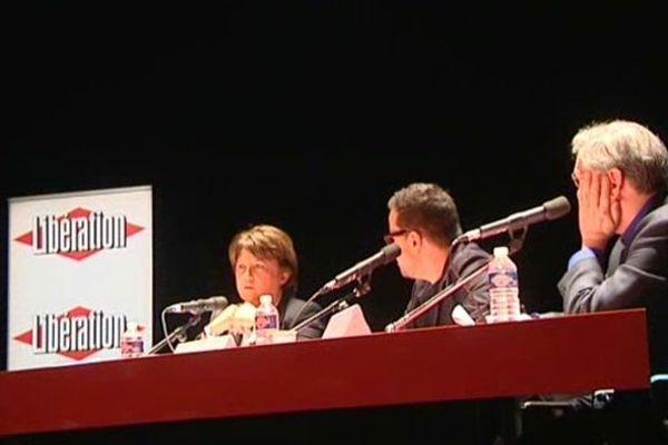 L'un des débats ce vendredi après-midi avec Martine Aubry et le journaliste Nicolas Demorand.