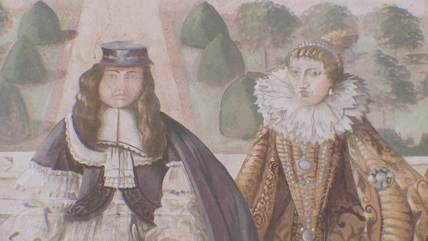 Louis XIV et sa mère Anne d'Autriche devant le château Peiresc